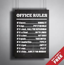 best office posters. OFFICE RULES SIGN A4 / A3 SIZE POSTER * Fun Quote Colleagues Gift Idea Wall Art | EBay Best Office Posters O