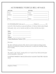 Automobile Bill Of Sale Form Motor Vehicle Bill Of Sale Template Free Free Vehicle Bill