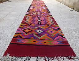 14 Foot Extra Long Handmade Pink Kilim Rug Runner Colorful Wool
