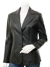 womens leather blazer in black m front