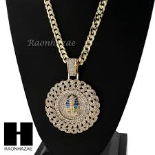 details about iced out l pharaoh round pendant diamond cut cuban link chain necklace nn51