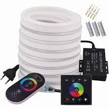 Duvar dokunmatik uzaktan RGB Neon LED ışık şerit 220V 110V çift uzaktan  kumanda esnek LED şerit