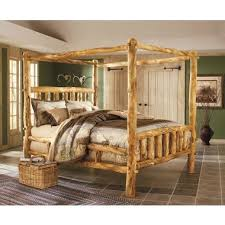 deluxe aspen log canopy bed i like rustic log furniture in a rural home aliance murphy bed desk