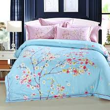 cherry blossom bed set linen blue pink bedding duvet cover sheet queen