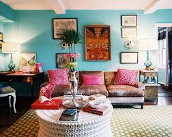 Chic Bohemian Apartment Decor With Blue Wall And Tender Comfortable Brown  Sofa Also White Modern Round ...