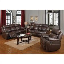 coaster myleene leather 3 piece reclining leather sofa set in brown 603021 22 23 3pkg