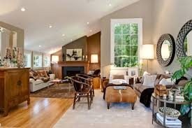 Living Room With Sloped Ceiling View Full Size