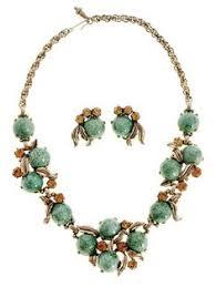 vine signed schiaparelli gum drop jewelry parure necklace ears 1950s aqua gold