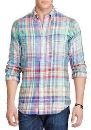 polo ralph lauren big tall classic fit plaid linen shirt chroma blue purple multi