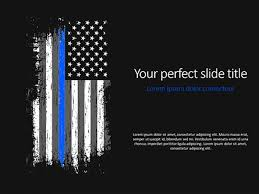 Thin Blue Line American Flag Powerpoint Template
