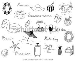 Icon Set Summer Vector Beach Vacation Stock Vector Royalty Free