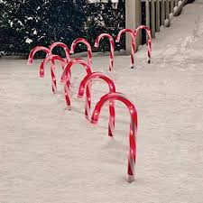 Light Up Garden Candy Canes Candy Cane Pathway Markers Set Of 10 Christmas Indoor Outdoor Decoration Lights
