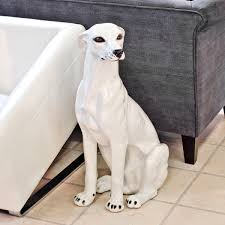 White Porcelain Greyhound Dog Statue