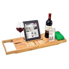 luxury bathroom adjule bathtub rack bamboo caddy shelf shower tub tray over book towel wine holder