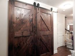 Large Sliding Barn Doors From Brown Old Wood With Diagonal Accent ...