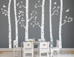 nursery wall decals white birch trees wall decal large tree wall mural stickers nursery tree and on wall art tree images with tree wall decals removable wall decals personalized large tree