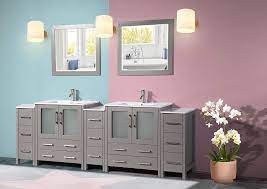Amazon Com Vanity Art 96 Inch Double Sink Modern Bathroom Vanity Compact Set 2 Shelves 13 Drawers Ceramic Top Under Mount Sink Bathroom Cabinet With Two Free Mirrors Va3030 96 G Kitchen Dining