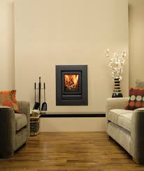 stovax riva 40 inset fire with wide 4 sided frame in jet black metallic and handle removed