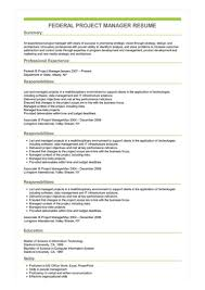 Program Manager Resume Examples Sample Federal Project Manager Resume