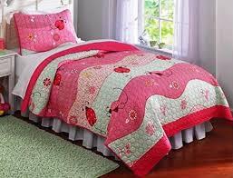 Girls bedding sets floral flowers red pink