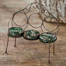 bottle cap furniture. Fairy Garden-Bottle Cap Bench-Furniture-Jeremie Corporation-MyFairyGardens Bottle Furniture