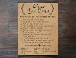 Disney Love Quotes Impressive Disney Love Quotes Bridal Shower Game Disney Bridal Shower Etsy
