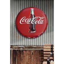 coca cola sign vintage large tin round on retro metal wall art old decor