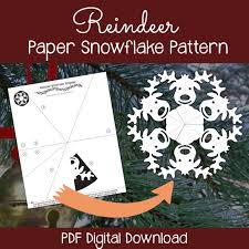 Snowflakes Template Pdf Reindeer Paper Snowflake Pattern Pdf Digital Download