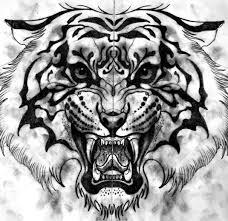 эскиз тату с оскалом тигра идея тату 5