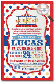 Carnival Vintage Carousel 1st Birthday Invitations Di 347