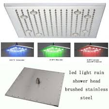 square brushed nickel led rain shower head