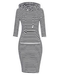 MISSKY <b>Women</b> Stripe Pocket Knee Length <b>Slim</b> Casual Pullover ...