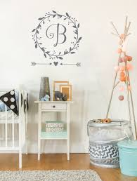 Baby Monogram Wall Decor Monogram Wall Decal Baby Girl Nursery Wall Decal Wreath