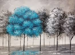angela anderson art blog pop of color black and white trees acrylic painting tutorial easy beginner painting diy canvas art paint party
