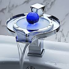 led waterfall faucet basin hot and cold temperature
