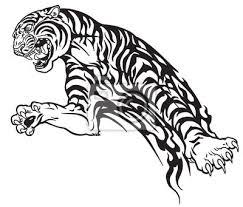 Fototapeta Tygr V Skoku Agresivní Velká Kočka černobílé Tribal Tetování