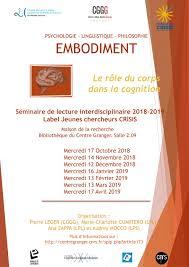 """CGGG. Séminaire mensuel de lecture interdisciplinaire """"Embodiment"""" -  Maison de la Recherche"""