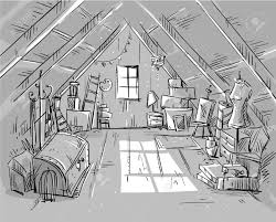 attic clipart black and white.  Black Old Attic Vector Illustration Stock Vector  59921107 For Attic Clipart Black And White 123RFcom