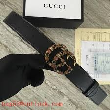 gucci leather belt with crystal double g buckle 480199 black replica