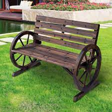 outsunny wagon wheel wooden bench brown