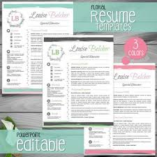 Free Teacher Resume Templates Magnificent 28 VERSIONS OF FLORAL Teacher Resume Template Teacher CV