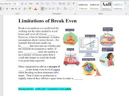 Break Even Analysis Starter Activity And Test Yourself Exam Questions For Level 2 Gcse And Btec Fin