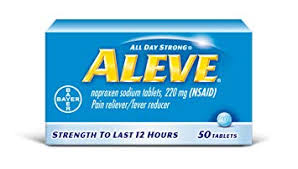 Aleve Tablets With Naproxen Sodium 220mg Nsaid Pain Reliever Fever Reducer 50 Count
