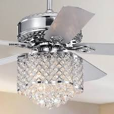 Crystal Light Fixture For Ceiling Fan Shop Deidor 5 Blade 52 Inch Chrome Ceiling Fan With 3 Light