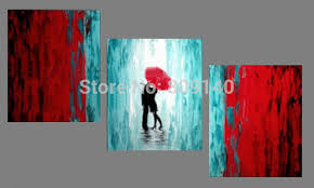 red and light blue wall art