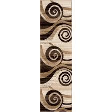 well woven ruby whirlwind brown 2 ft x 7 ft modern runner rug