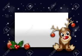 Blank Christmas Background Red Christmas Background With Blank Table And Cute Reindeer Stock