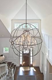 awesome metal frame globe with crystal entryway lighting foyer chandelier for living room decor