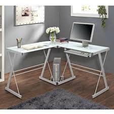 view a larger image of the walker l shaped glass computer desk white and with hanging