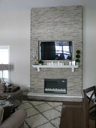 this fireplace is simply panels of stone veneer placed over a wooden frame the firebox is an electric insert